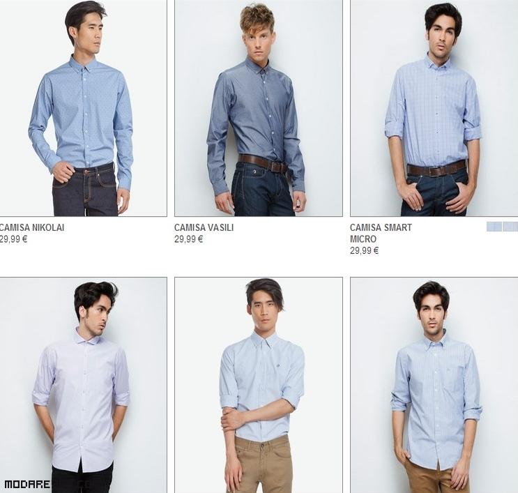 camisas azules estampadas