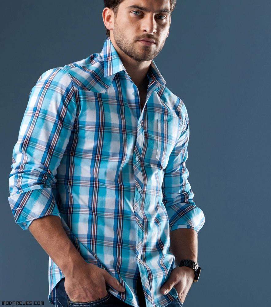 Camisas de cuadros en azul