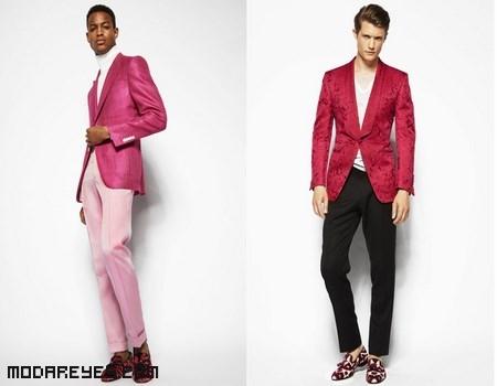 trajes en color rosa para hombre