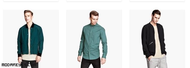 cazadoras y camisas en verde