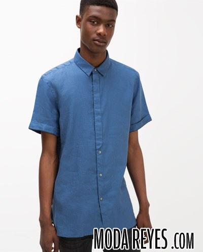camisa lino en azul