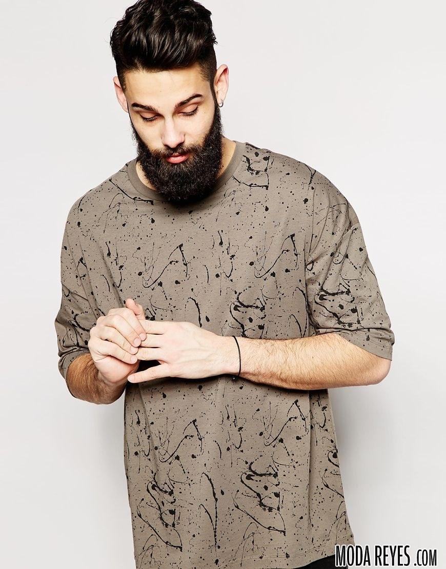 camiseta con estampado salpicado de Asos