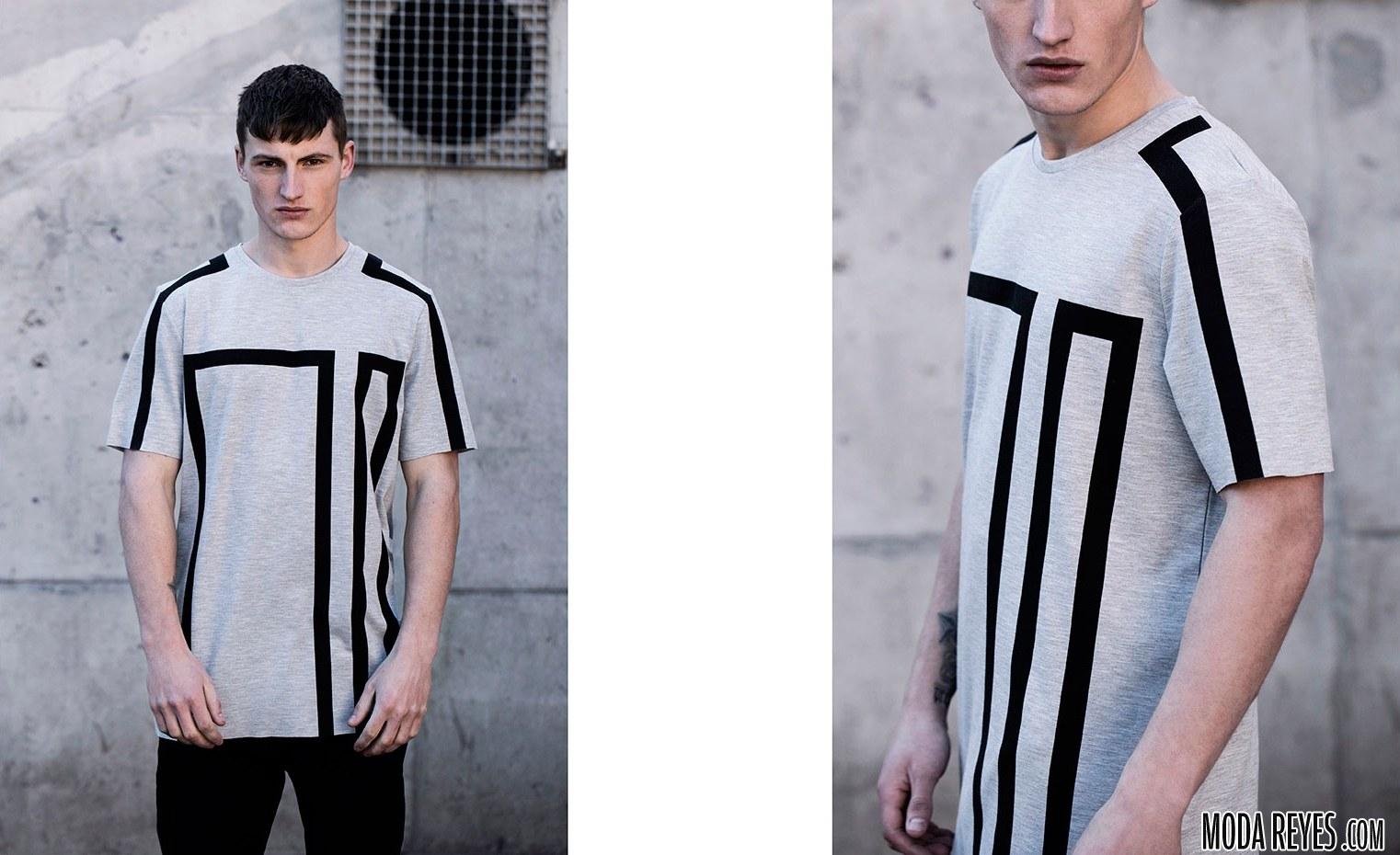 camisetas con estampado geométrico de bershka