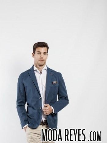 chaqueta para hombre en azul soloio