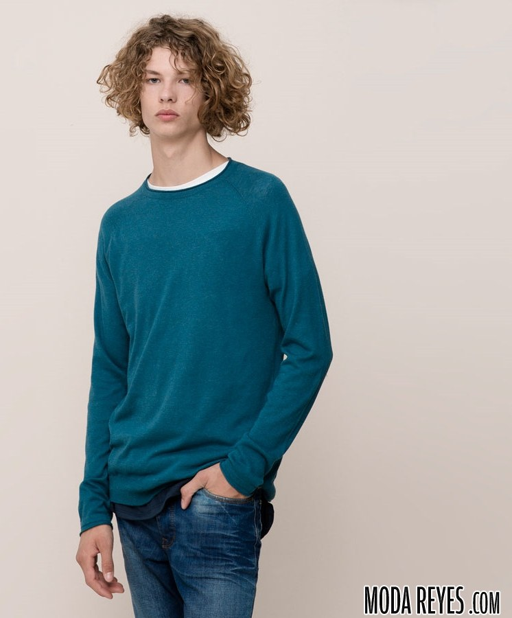 jersey pull and bear en azul