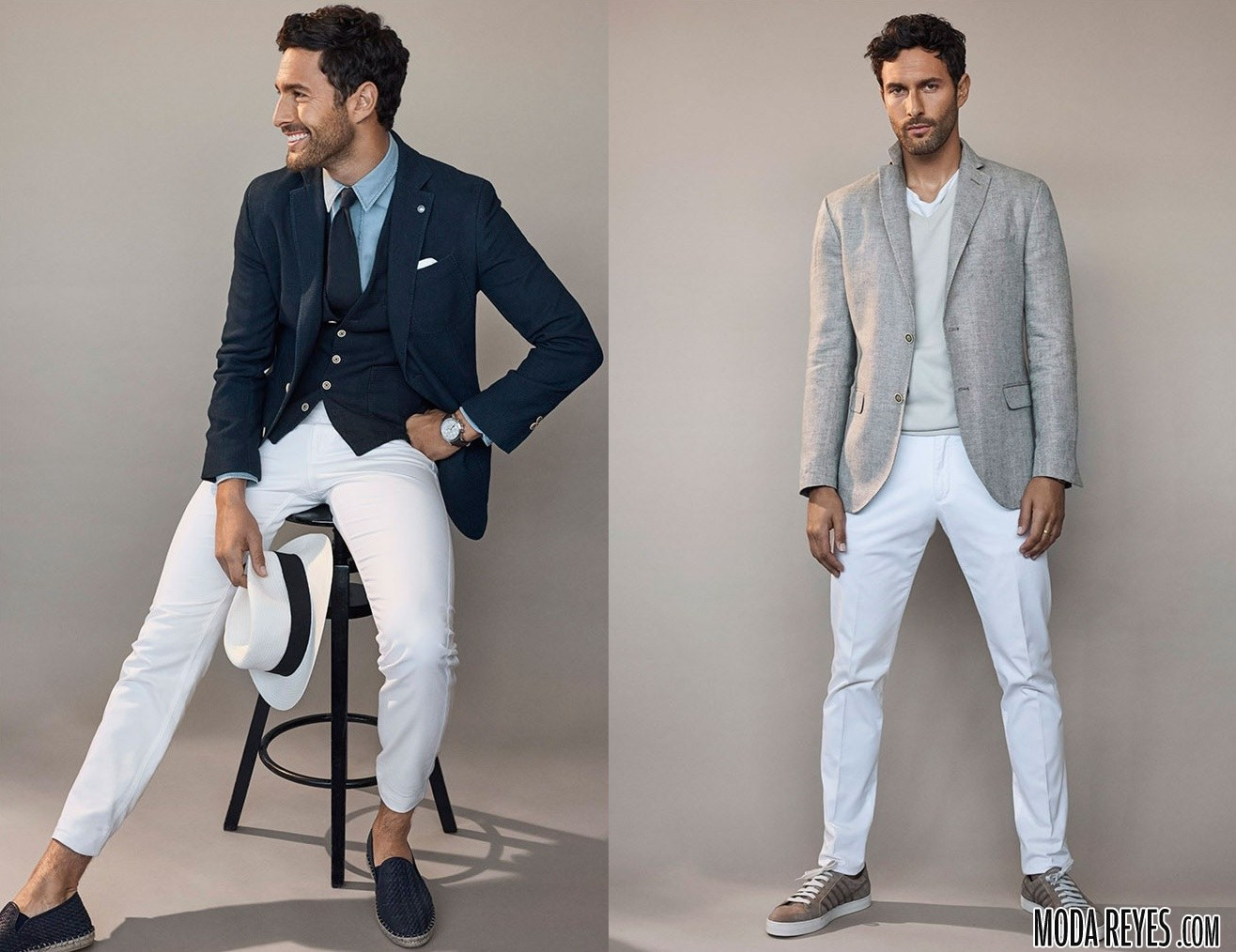 traje con pantalón blanco