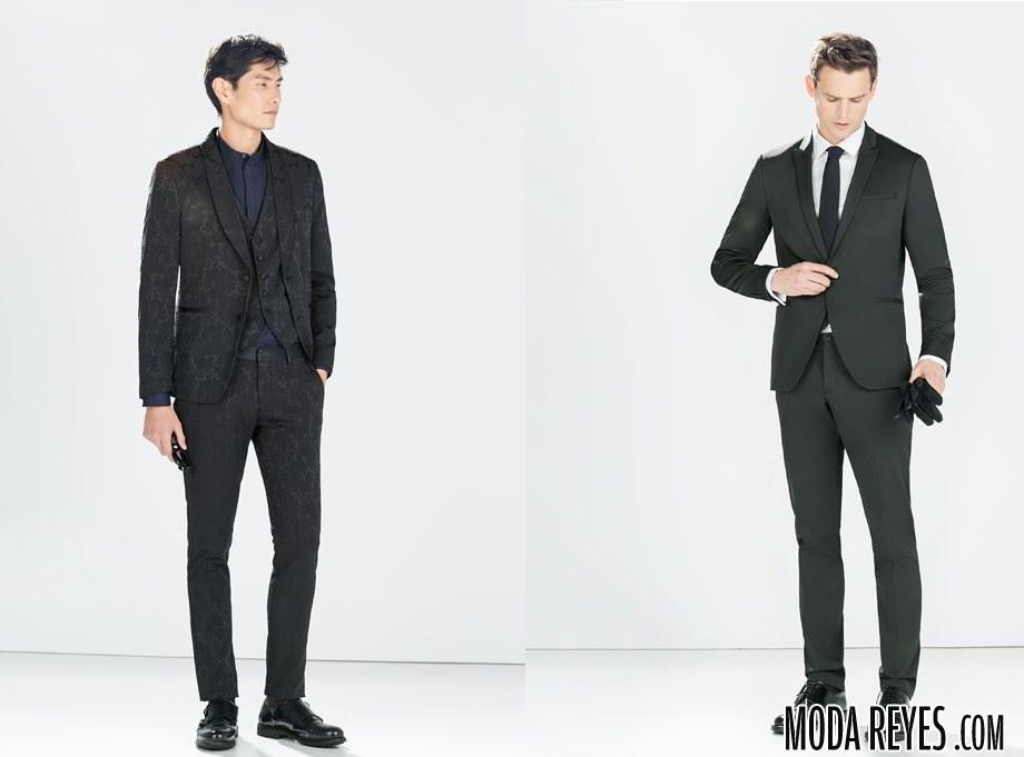 trajes en color oscuro de Zara